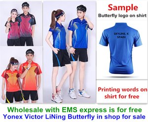 Großhandel EMS kostenlos, Textdruck kostenlos, neue Badminton Hemd Kleidung Tisch Tennis T Sport Hemd Kleidung A111
