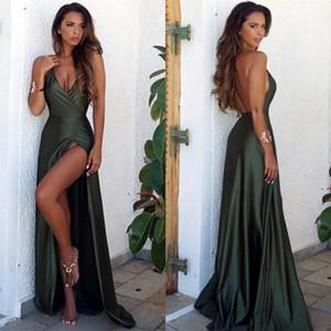 Modeste Sexy Olive Vert Dos Nu Split Élégant Simple Robes De Soirée De Bal 2019 V-Cou Longue Etage Longueur Robe De Soirée BA6335