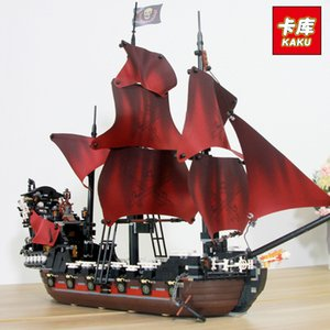 Alta calidad de pirata del Caribe Velero bloques de construcción para Chindren regalo Queen Anne Revenge ladrillos Embarcación 3D Modelo de bricolaje juguetes para los niños