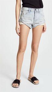 Verano de las mujeres atractivo del diseñador pantalones de mezclilla rasgado calientes Abofeteado bolsillos de cintura alta Pantalones cortos Pantalones Solid color de moda