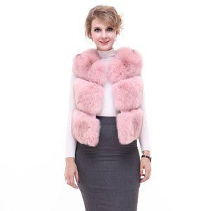 Luxury Autumn Winter Women's Genuine  Fur Vest Lady Slim Waistcoat Gilet Plus Size VF7057