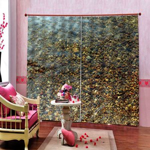 Cobblestone Photo Design Creative Blackout Curtain Polyester Fabric For Living room bedroom Drapes Decor Sets 2 Panels With Hooks