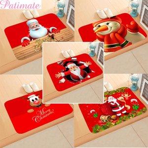 PATIMATE Рождество Doormat Санта-Клаус Ковровые Merry Новогодние украшения для дома 2019 Navidad Natal Подарок С Новым Годом 2020