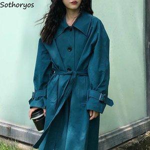 Estilo estudiantes zanja Mujeres sólido Fajas una línea de moda solo pecho floja de gran tamaño de Corea del ocio elegante para mujer abrigos Ulzzang