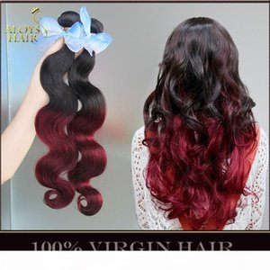 Ombre Peruvian Virgin Human Hair Weaves Body Wave Two Toned 1B 99J Burgundy Wine Red Peruvian Hair Bundles Ombre Human Hair Extensions 4Pcs
