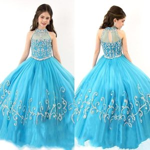 2019 New RACHEL ALLAN Girls Pageant Dresses Sheer High Neck Beaded Crystal Sleeveless Ball Gown Turquoise Tulle Flower Girl Dresses 153