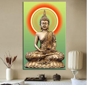 Living Room 190923 için Tuval Religiuos Sanat Doğu Asya Altın Duvar Dekor Duvar Sanatı Ev Dekorasyonu Büyük resim üzerinde Budha Yağlıboya Resim