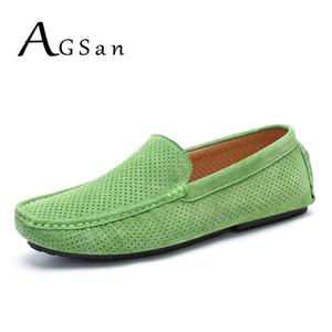 AGSan Sommer-Männer Loafers echtes Leder-beiläufige Schuh-Mode-Beleg auf Fahr Schuh-Breathable Mokassins Grün Suede Loafers