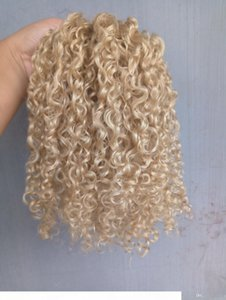 New Style Strong Chinese Virgin Remy Curly Hair Weft Human Top Hair Extensions blonde 6130# Color 100g one bundle