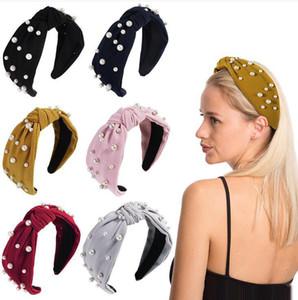 Mujeres Niñas Diadema Twist Hairband Nudo de lazo Corbata cruzada Faux Pearl Headwrap Banda para el cabello Aro Accesorios para el cabello