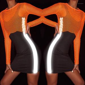 Verano ajustado de 3M reflectante diseñador sin mangas de las mujeres viste el vestido del tanque de Negro