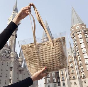 3шт Мода лето Женщины PVCWeave Прозрачный большой емкости Композитный сумка цвета хаки черный Краткое Пляжная сумка
