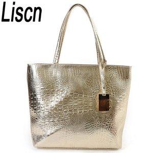 Liscn New Fashion Crocodile Frauen Umhängetaschen Silber Gold Schwarz Handtasche Pu-leder Weibliche Große Einkaufstasche Damen Handtaschen Sac Y19061803