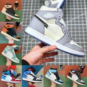 2019 Nike Air Jordan 1 retro jordans  ASG UNC purpurnen Farbton Fearless Gebannt Retroes 1s Chicago Frauen Weiß Grau Sportschuhe