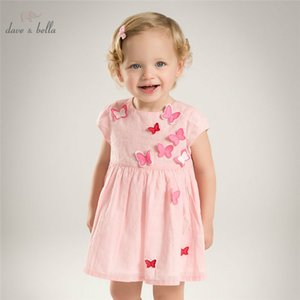 DB5067 dave bella summer baby girl princess dress butterfly appliques dress baby wedding kids birthday cute clothes