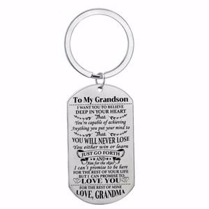 12 Adet / grup Moda Torunu Anahtarlık Aşk Büyükanne Askeri Action Figure Oyuncak Çocuklar Aile Hediyeler Için Paslanmaz Çelik Köpek Etiketi Anahtarlık