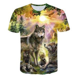 2019 Новые Wolf 3D печати животных Прохладный Смешные футболки мужчин с коротким рукавом лето Топы Тис моды размер тенниски XXS-4XL Бесплатная доставка