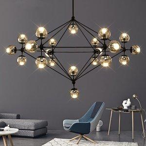 Italian design Globe Chandelier Lighting Living room Bedroom Kitchen Island lustre glass bubble chandelier Black Rose Gold Color