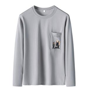 Wild T-Shirt Slim Herbst Pullover Top Pullover Herren Tasche Design Gestickter Druck Lose Beiläufiger Rundhalsausschnitt