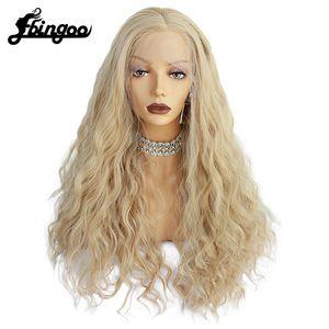 Ebingoo fibra ad alta temperatura parziale sintetica corpo lungo Saluto Biondo Fluffy stratificata merletto anteriore parrucche per le donne