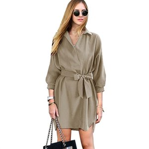 Designer high quality Everyday shopping wear High end Women Turn-down Collar Lace up Dress Pullover Curved Hem Self Tie Shirt Dress