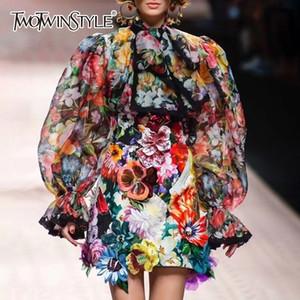Shirt TWOTWINSTYLE camicetta Bowknot Flare a maniche lunghe in pizzo Patchwork Stampa Top Female Elegante Moda 2019 Nuovo SH190918 Primavera