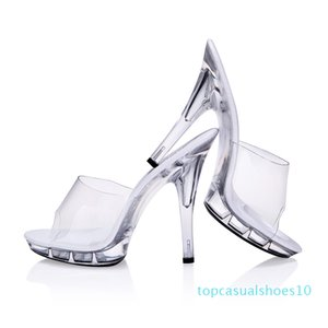JOYHOPY Sexy Women High Heels 12cm Summer Woman Transparent Crystal Shoes Sandals Slippers Big Size 34-43 Thin Heel Flip Flops t10