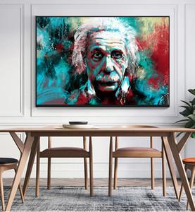 Современное граффити Рисунок Холст Картина Краска Альберт Эйнштейн Картина маслом Плакат Стена Картина для гостиной Home Decor