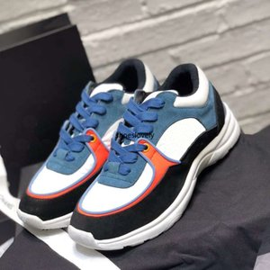 Top Frauen-Mann-beiläufige Schuh-Turnschuh-Frau-Leder Wildleder Paris-Schuh-Plattform Patchwork-Turnschuhe Fluoreszenz Chaussures