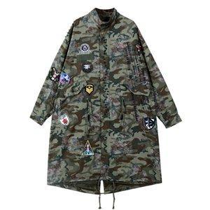 Sherhure 2019 Patches Camuflagem Imprimir Oversize Mulheres Bomber Jackets Casaco Feminino Mulheres Jaquetas longo de outono Casaco Casaco
