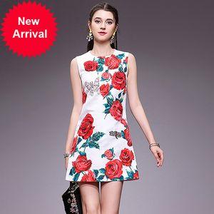 2020 nouvelle robe de mode design d'été Floral manches femmes Imprimer élégant perles de cristal de luxe Sweet Dress