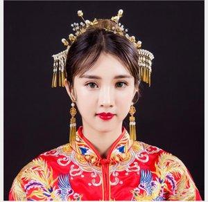 Haarschmuckanzug im chinesischen Stil retro Haarnadelpaar Haarnadelfranse Phoenixkrone Zubehör