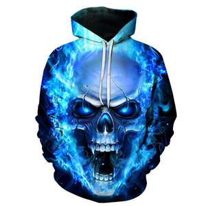 2019 Blue Flame Блестящий скелет 3D печать Не увядай унисекс спортивная мужская одежда Толстовка с капюшоном повседневная уличная одежда