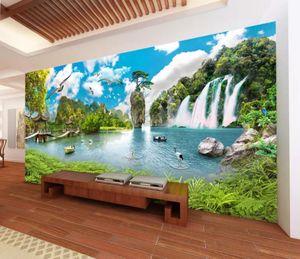 классические обои для стен китайского стиля ландшафта ультра HD водопад пейзаж 3D-телевизор фон стены
