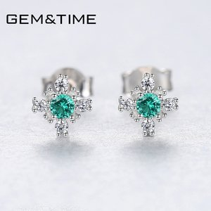 heap Earrings Gem&Time Nano Russian Emerald Snowflake Stud Earrings Sterling Silver 925 Earring For Women Gemstone Jewelry joyas de plata...
