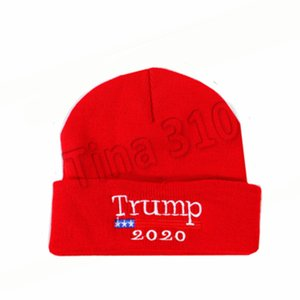 nuovo 2020 cappello Trump tappo elezione bandiera americana ricamato berretti di maglia campagna elettorale beanies personalizzati cappello Cloches T2C5058