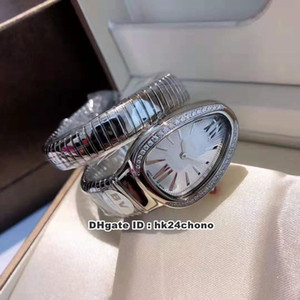 7 Estilo Serpenti Tubogas Diamonds 35mm Quartz Womens Watch 101816 SP35C6SDS.1T seletor de Prata aço inoxidável Winding Pulseira Ladys Relógios