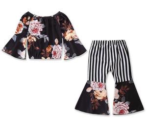 Оптовая моды новых 2019 летних детей дизайнер одежды девочек Наряды цветочные Tops + полоса Расширяющиеся брюки девочка дизайнер одежды BY1017