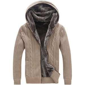 Winter warme starke Männer Pullover / Casual-Pelz-Futter-Strickpullover Mantel Männer Designer Kapuze Cardigans große Größe Freies Verschiffen nach 5xl