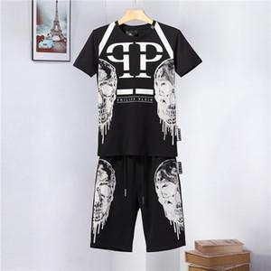 Designer de luxo dos homens terno 19ss nova marca de verão sportswear dos homens terno de corrida T-shirt + calças terno esportivo moletom hip hop