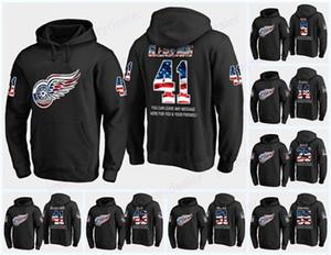 59 Tyler Bertuzz Detroit Red Wings EE.UU. Bandera Negro con capucha camisetas 9 Gordie Howe 19 Steve Yzerman Dan Renouf Libor Sulak camisetas de los hoodies
