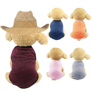 솔리드 컬러 개 조끼 작은 개 여름 티셔츠를위한 저렴한 개 옷 귀여운 강아지 조끼 요크셔 테리어 애완 동물 의류 VT0055
