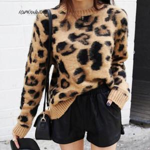 Imprimir Leopardo Cashmere Camisola Mulheres Pulôver Mohair Camisola V-Neck Coreano Manga Longa Malha Pullovers O-pescoço Inverno Quente Jumper Tops