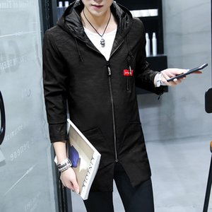 mens designer Mens Mature and Steady Coat Spring and Autumn New Handsome Thin Windbreaker Mens Mid-Length Korean-Style Trendy Casual Clothes