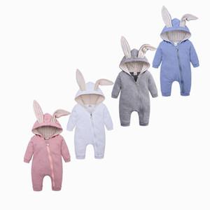 Cute Rabbit Orecchie Coniglio Pagliaccetti Per Neonati Vestiti Delle Ragazze Dei Ragazzi Vestiti Marchi Marchi Tuta Infantile Costume Del Bambino Outfit Q190518