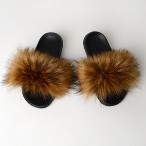 Faux Fur Slippers, Soft Raccoon Fur Slippers For Women, Warm Winter House Slipper,Furry New Flip Flop Shoes For Women