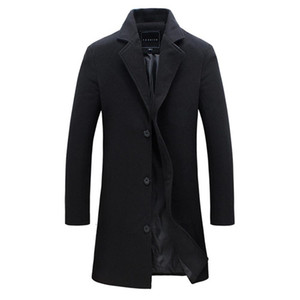2018 Мода Мужская шерстяное пальто зима теплая Сплошной цвет Длинный Trench куртка Мужской однобортный Бизнес Повседневный Шинель Parka