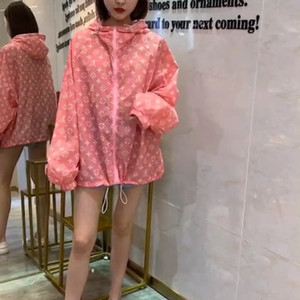2020Sun funda de protección para las mujeres en la primavera / verano delgada estudiante versión coreana holgada capucha uniforme de béisbol de impresión de cuerpo completo web C