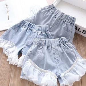 Neonata denim Shorts bambini della perla del merletto Patchwork pantaloncini estivi brevi jeans di moda bambini Mesh principessa brevi pantaloni casual Pantaloncini AYP662