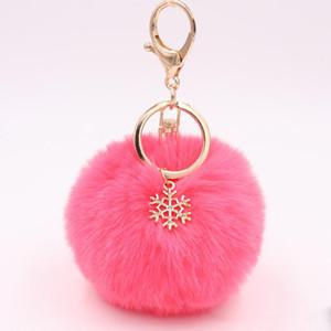 Auto keychain Schneeflocke-Pelz-Kugel-Bommel-künstlicher Kaninchen-Pelz Keychains